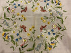 Vintage Handcrafted Floral Embroidered Tablecloth 30' x 30'