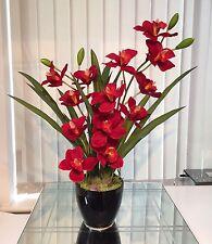 Artificial Flower Arrangement, Red Cymbidium Orchid Set In A Black Ceramic Pot
