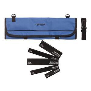 9 Pocket Chef Knife roll bag case Blue w/ 5 Piece Black edge guard Set Ergo Chef