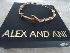 Alex and Ani ANCHOR HORIZONTAL Rafaelian Gold Bangle New W/ Tag Card & Box