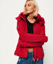 New Womens Superdry Pop Zip Hooded Arctic Sd-Windcheater Red