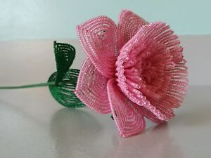 Handmade French beaded Flowers Large Peony flower pink color