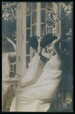 French nude woman mirror hairdo original early c1900s Wallery photo postcard