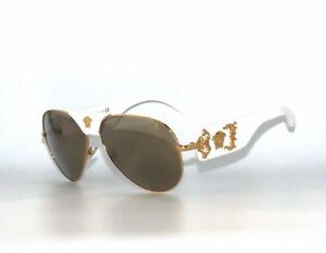 Versace VE2150Q 1341/5A White Gold Mirror Sunglasses 2150Q