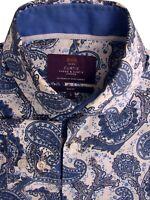 HAWES & CURTIS Shirt Mens 15 S Blue - Paisley SLIM FIT