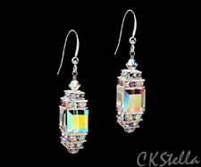 *Ckstella* Glittering Cube 925 Sterling Silver Earrings w Swarovski Crystal Ab
