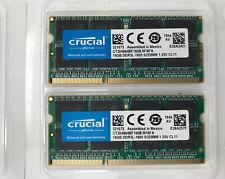 Crucial 32GB Kit (16GBx2) DDR3/DDR3L 1600 MT/s Unbuffered SODIMM 204-Pin Memory