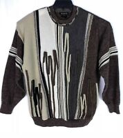 Vintage Men's 90s Coogi Style Brown 3D Sweater Wool Blend BachRach  Size XL