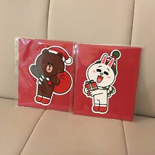 Korea LINE FRIENDS Brown Cony Red Christmas Card Greeting Mascot Gift Set