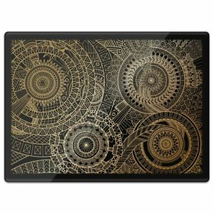 Quickmat Plastic Placemat A3 - Fractal Gold Mandala Pattern  #15540