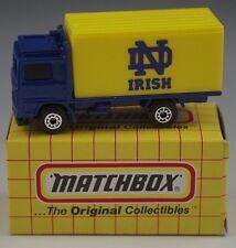 MATCHBOX VOLVO CONTAINER TRUCK MB-23 NOTRE DAME IRISH FOOTBALL 1/64 SCALE NIB