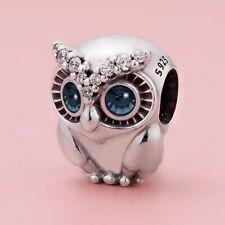 Authentic Pandora Sliver Charm Bead Sparkling Owl  798397NBCB #v