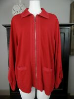 chicos zenergy Womens 2 Red Cotton Blend Zip Front 3/4 Sleeve Collar Jacket