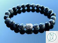 Buddha Snowflake Obsidian Natural Gemstone Bracelet 7-8'' Elasticated Healing
