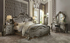 Old World Antique Platinum Gray Bedroom Furniture - 6pcs Queen Size Bed Set IABW