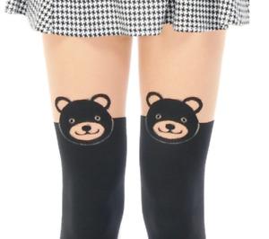 KAGAWA Women Animal Bear Print Thigh-High Socks Tights Pantyhose Taipei Gift