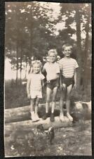 Vintage Antique Photograph Three Cute Children Standing on Log in Woods