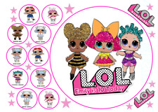"""EDIBLE LOL DOLLS 7.5INCH""""+ 10X 3.9CM BIRTHDAY PARTY ICING CAKE TOPPERS"""