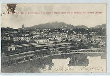 CARTOLINA 1904 VARESE PANORAMA E STAZIONE TRENI ELETTRICI E SACRO MONTE 646/A