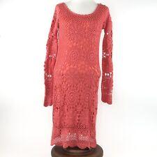 49d7c912919e Boston Proper Coral Crochet Lace Illusion-Sleeve Dress Boho Bohemian  Romantic S