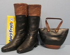 "VERY CUTE MINIATURE PAIR OF HI HEEL ""LEATHER"" BOOTS (4""hi)  & MATCHING PURSE  P8"