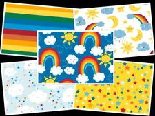 HAPPY CLOUDS & RAINBOWS  BRIGHT FUN CHILDREN'S KIDS 100% cotton QUILTING FABRIC