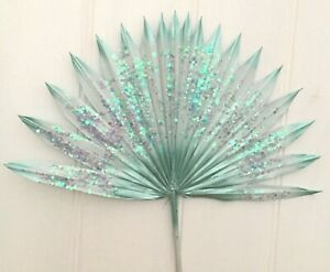 1 Mint Green Sun Spear with Glitter CAKE TOPPER Dried Palm, Letterbox Palm