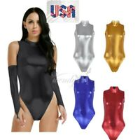 US_Women's Metallic Leather Swimwear High Cut Jumpsuit Leotard Bodysuit Swimsuit