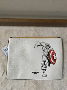 NWT - Limited Edition  COACH x Marvel Chalk Captain America Leather Large Pouch