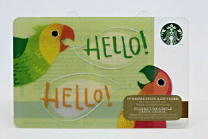 Starbucks Coffee 2014 Gift Card Hello Hello Parrots Birds Zero Balance No Value