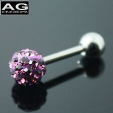A single Purple cubic snow ball barbell earring stud piercing 18g US SELLER