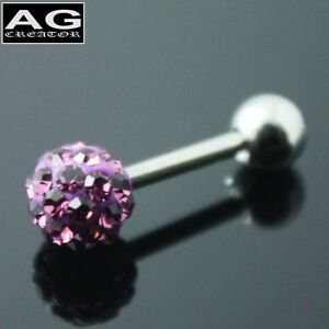 A pair (2pc) Purple cubic snow ball barbell earring stud piercing 18g US SELLER