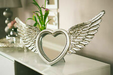 Large Silver Heart Shaped Mirror 2 In 1 Photo Frame Novelty Feathered Wings