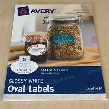 Avery Glossy Oval Labels White 15 X 25 Print To Edge Laserinkjet 54pk