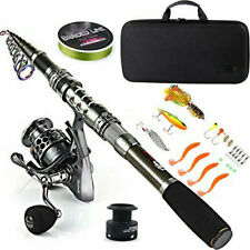 New ListingFishing Rod Combos Telescopic Spinning Reels Saltwater Freshwater Travel Bag