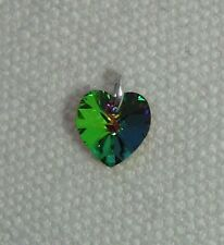 Crystal Heart Charm - Silver Jumpring & Made with SWAROVSKI - Vitrail Medium