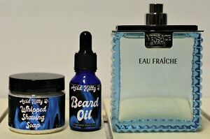 Versace Man Eau Fraiche Cologne + Acid Kitty Beard Oil and Whipped Shaving Soap