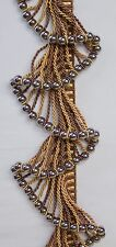 """5 Yards Beaded Rope FRINGE Trim  Brown / Gold 4"""" Drop  DRAPERY / UPHOLSTERY"""
