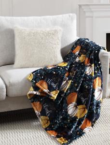 "Fall Autumn Harvest Fleece Blanket Thanksgiving Pumpkins 50""x60"" Black"