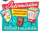 Vintage Movie Cinema Theater Drive In  Intermission Snacks Embossed Metal Sign