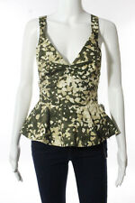 Stella McCartney Green Beige V-Neck Cotton Military Print Tank Top Size 38 NEW