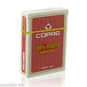 Cartes POKER COPAG 100% Plastique JUMBO Index Rouge