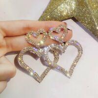 Luxury Double Heart Crystal Earrings Women Sweet Drop Dangle Ear Stud Jewelry