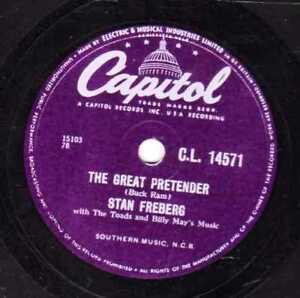 STAN FREBERG  PLATTERS SPOOF  78  THE GREAT PRETENDER  UK CAPITOL CL 14571 E/E-