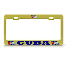 CUBAN FLAG CUBA PRIDE Metal Heavy Duty GOLD License Plate Frame AUTO SUV Tag
