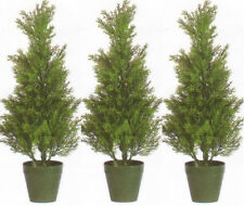 Three 2 foot Outdoor Artificial Cedar Topiary Trees UV Rated Potted Cypress Pine