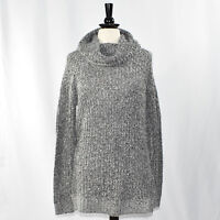 MOSSIMO Cowl Neck Tunic Sweater MEDIUM Gray Marled Yarn Sequin Embellished NWT