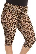 Size 2X Women's Brown Leopard  Capri Length  Animal Printed  Leggings