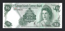 1974 CAYMAN ISLANDS $5 Dollars, Original UNC, P-6a A/1 Prefix, Popular QEII Note