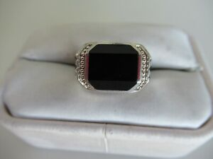 MEN'S STERLING SILVER & ONYX RING SIZE 10